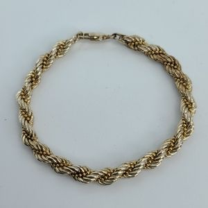 Gold over sterling silver, 2 color rope bracelet